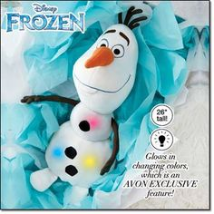 """I'm taking pre-orders for Avon exclusive #Frozen cuddle pillows coming out this Christmas! The cuddle pillow is 26"""" tall and only $29.99 each before shipping. Elsa plays a selection from """"Let It Go"""" and Olaf glows in changing colors. Contact me to pre-order...expected to sell out quickly! #Avon www.youravon.com/amy_foster"""