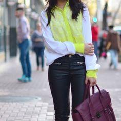 Spotted while shopping on Poshmark: White & Neon Prabal Garung Blouse! #poshmark #fashion #shopping #style #Tops