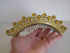 Old jewelry crown tiara comb diademe metal decor empire yellow stone 19èm | Art, antiquités, Objets du XIXe et avant | eBay!
