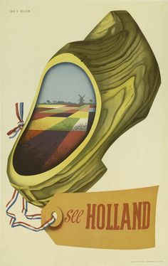 classic posters, free download, graphic design, retro prints, travel, travel posters, vintage, vintage posters, See Holland - Vintage Travel Poster
