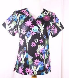 Disney Tinkerbell Size XS Scrub Top NWT Black Bright Floral  #Disney