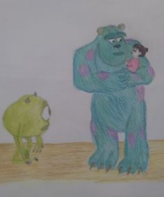 Monsters inc Boo, Sully and Mike drawing