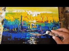 Abstract painting / Acrylic paints / Palette knife / Flat brush / Demonstration - YouTube