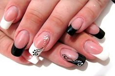 Black And White Acrylic Nail Art Designs Ideas White Acrylic Nails, Acrylic Nail Art, Acrylic Nail Designs, Black And White Nail Designs, Black And White Nail Art, Photomontage, Angel Nails, Nail Art Stamping Plates, New Nail Designs