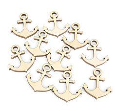 Set of 10pcs. 1 Mini Wooden Anchor Shape Ornaments