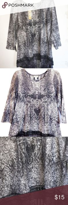 "WORLD UNITY Lace Inset Hi-Lo Sweater 2X NWT BRAND NEW WITH TAG:  Add a modern touch to your cool-weather look with this sweater, featuring a High-Low hem hem, open weave and a see-though lace inset on hem and back. In Grey and black MSRP. $48  PRODUCT FEATURES  Crewpneck 3/4 sleeves Marled open weave knit Lace inset on hem and middle back Hi-lo hem  Fabric & Care 98% Polyester, 2% spandex Machine wash  Actual measurements: bust: 52"", waist: 50"", length: 28"" World Unity Sweaters Crew & Scoop…"