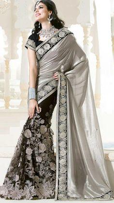 #Fancy Black & Brown Colored #Designer Saree