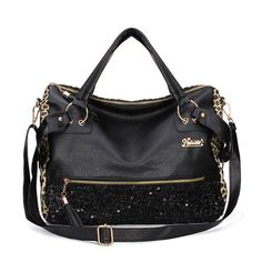 Black Sequin Leopard Women Punk Shoulder Messenger Hobo Tote Handbag