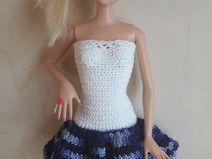 Barbie Kleid (gehäkelt), weiß/dunkelblau