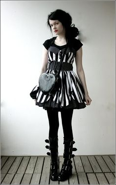 #clothing #dress #striped #gothic