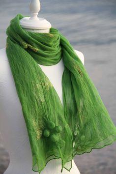 Felt shawl with shibori Color Stories, Shibori, Greenery, Shawl, Creations, Felt, Fashion, Moda, Felting