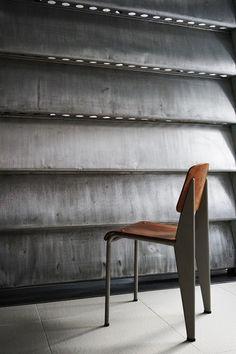 scandinaviancollectors:  JEAN PROUVÉ, Aluminium sun-shutter, 1964 and Standard chair, ca.1950. / Sign Tokyo