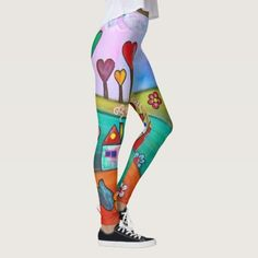 Whimsical Boho Magic colorful Fun Art Fairy Leggings!