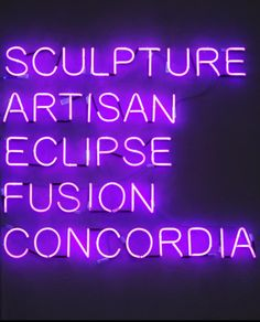 Nicolai, Olaf — GermanyOlaf Nicolai, Sculpture Artisan Eclipse Fusion Concordia, 2006, No. 16 from the series Noms de Guerres, 2006 neon writing , 41,34 x 48,03 x 2,36 inch, plus 1 text sheet 10,23 x 8,27 inchFull serie