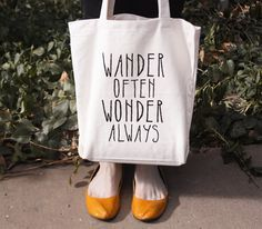 Screen Printed Tote Bag - Wander Often Wonder Always - quote tote on Etsy, $21.84 CAD