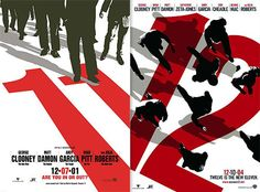 Ocean's Twelve Theaterical posters by Neville Brody. This excited me so much because I love the Ocean's series so the fact that Brody designed this gives me more inspiration to do something similar in experimentation with another film series I love. This makes the poster so iconic for the series, the colour fills of the characters along the white background and the 11, 12 along the bottom makes people want to know who they are.