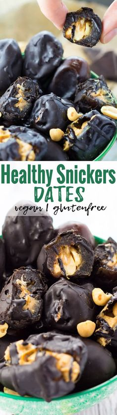 These healthy vegan date snickers (aka. peanut butter stuffed chocolate dates) are the perfect snack! They're super easy to make, insanely delicious, and so much healthier than store-bought candy! One of my favorite vegan recipes! <3 | veganheaven.org