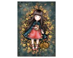 Gorjuss Autumn Leaves Greeting Card A beautiful art card featuring a lovely Gorjuss Girl, this card is perfect for all occasions. Art Mignon, Santoro London, Mosaic Kits, Atc Cards, Holly Hobbie, Copics, Cute Illustration, Pretty Pictures, Cute Cartoon