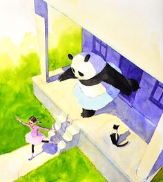 """Original illustration """"Dance With Me"""" from Zen Socks written and Illustrated by Jon J Muth   R. MICHELSON GALLERIES"""