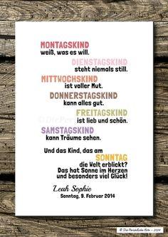 Druck/Wandbild: Sonntagskinder - Glückskinder von Die Persönliche Note auf DaWanda.com
