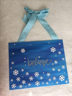 Believe Winter canvas painting with ribbon