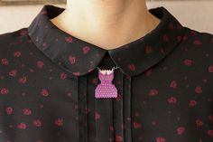Necklace pois dress 50's with Peter Pan collar Original