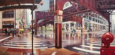 Realistic Urban Landscape Paintings of Chicago and New York by Nathan Walsh photo realism painting New York landscapes Chicago architecture - THIS IS INCREDIBLE Chicago Landscape, New York Landscape, Urban Landscape, Urban Painting, City Painting, Painting Art, Colossal Art, Realistic Paintings, Detailed Paintings