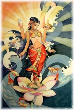 Kamala's themes are spirituality, love, relationships, passion and pleasure. Her symbols are the color yellow and lotuses.  The Hindu 'lotus girl' of pleasure promotes ongoing faithfulness in our relationships inspired by mutual enjoyment and an abundance of love. Kamala also makes us aware of the spiritual dimensions in our physical exchanges that sometimes get overlooked.
