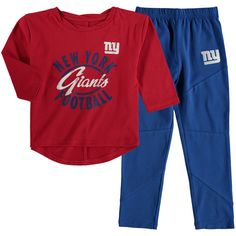 fd5fedee5 Girl s Toddler Red Royal New York Giants Fan Gear Football Sweetheart Long  Sleeve T-Shirt and Pant Set