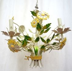 vintage tole daisy chandelier.WORKS!white.green.sunny yellow.french.italian.tessiemay vintage by tessiemay on Etsy