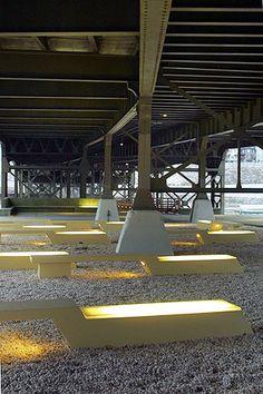Urban plaza in an underbridge area
