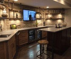 Narrow Basement Ideas, Open Basement, Basement Bar Designs, Home Bar Designs, Basement House, Basement Kitchen, Finished Basement Bars, Rustic Basement Bar, Small Basement Bars
