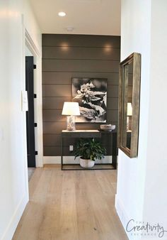 2018 Salt Lake City Parade of Homes: Recap Last year I fell in love with the JCraft Homes painted shiplap accent wall that was painted with Benjamin Moore Kendall Charcoal above. House Design, House, Home, Accent Walls In Living Room, Ship Lap Walls, Shiplap Accent Wall, New Homes, Charcoal Walls, Trending Paint Colors