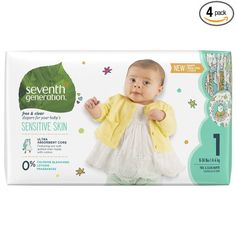 Seventh Generation Baby Diapers, Free and Clear for Sensitive Skin, with Animal Prints, Size 1, 160 Count (Packaging May Vary)