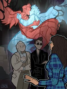 Good Omens 'Auras' Headcanon Completely inspired by the amazing art piece did of Anathema being able to see Crowley and Aziraphale's auras embracing. It started out as a short headcanon. Neil Gaiman, Michael Sheen, Anime Angel, Fanart, Animé Fan Art, Good Omens Book, Culture Pop, Terry Pratchett, Fandoms