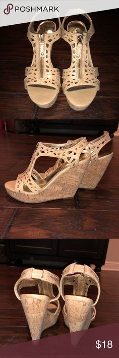 Carlos Santana cork wedges Size 7 wedges w/ cork  Zip up in the back faux zipper on the top of shoe for looks!  Lightly worn!  Good condition Carlos Santana Shoes Wedges