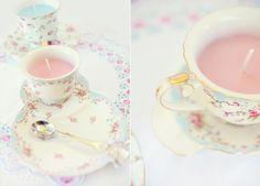 DIY teacup candles - lovely as shower favor