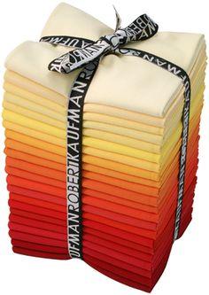 Baumwollstoff Kona® Cotton, Oeko-Tex Standard 100, gelb - rot - orange, Hersteller: Robert Kaufmann