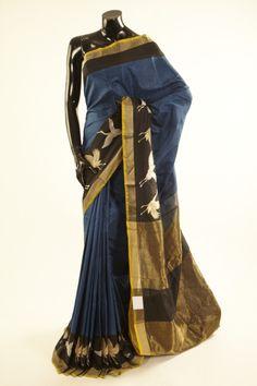 Banarsi- silk dark pottery blue saree with blouse