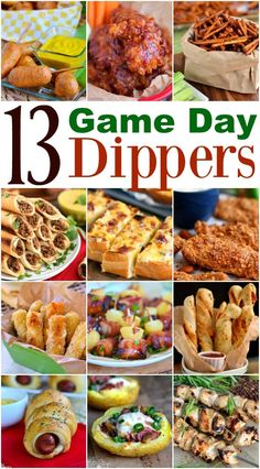 game day food 13 Game Day Dippers for the ULTIMATE game day experience! Chicken strips, pizza twists, mini corn dogs and so much more! Finger Food Appetizers, Yummy Appetizers, Appetizer Recipes, Snack Recipes, Game Day Appetizers, Tailgate Appetizers, Appetizers For A Crowd, Party Finger Foods, Super Bowl Party