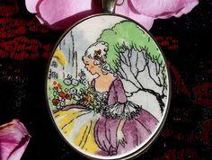 """Crinoline Lady"" - Pendant (P64) Broken China Jewelry, Ann, Jewellery, Pendant, Jewels, Schmuck, Hang Tags, Pendants, Jewelry Shop"