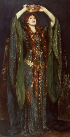 "Ellen Terry as Lady Macbeth (1889). John Singer Sargent (American, 1856-1925). Terry's spectacular gown was made with soft green wool and blue tinsel yarn. It was embroidered with gold and decorated with 1,000 iridescent wings from the green jewel beetle. The dress has a narrow border of Celtic designs worked out in red and white stones. It was designed to ""look as much like soft chain armour… and yet have something that would give the appearance of the scales of a serpent."""