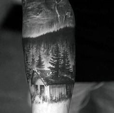 Men's Cabin In The Woods Pine Tree Tattoo