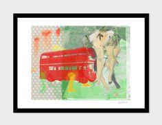 BIG_RED_BUS Big Red Bus, Bus Art, Digital Art, Ink, Art Prints, Artwork, Design, Art Impressions, Work Of Art