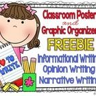 Kid friendly posters and graphic organizers to use in your classroom to assist students with writing opinion, informational and narrative pieces....FREE