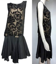 1920s evening dress by Bedell, New York: black devoré velvet and satin with prong-set diamanté clasp and attached slip. Via Evolution/1st Dibs.