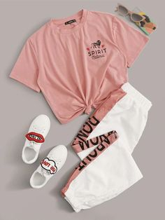 Women's Pink Short Sleeve Tee With Contrast Side Seam Jogger Two Piece Set. love this cute pink short sleeve tee with matching white and pink women's joggers. Girls Fashion Clothes, Teen Fashion Outfits, Swag Outfits, Mode Outfits, Retro Outfits, Cute Fashion, Outfits For Teens, Matching Outfits, Preteen Girls Fashion