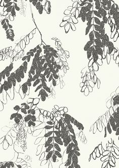 Robinia (in charcoal) hand screen-printed fabric yardage / meterage, designed by Philippa Wilkinson of Pip Willy.