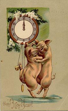 Dancing New Year's Eve Pigs Vintage Postcard