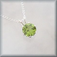 August Birthstone Necklace Sterling Silver Peridot Jewelry (SP924). $22.00, via Etsy.